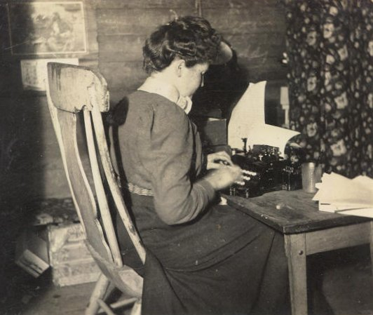 B.M. Bower writing in Big Sandy, Montana, 1904 (Image courtesy of Oklahoma State Library)