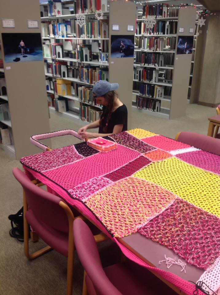 "School of Visual Arts student Kelly Queen at work on ""Study Break"". The piece will continue to develop for the rest of the semester."