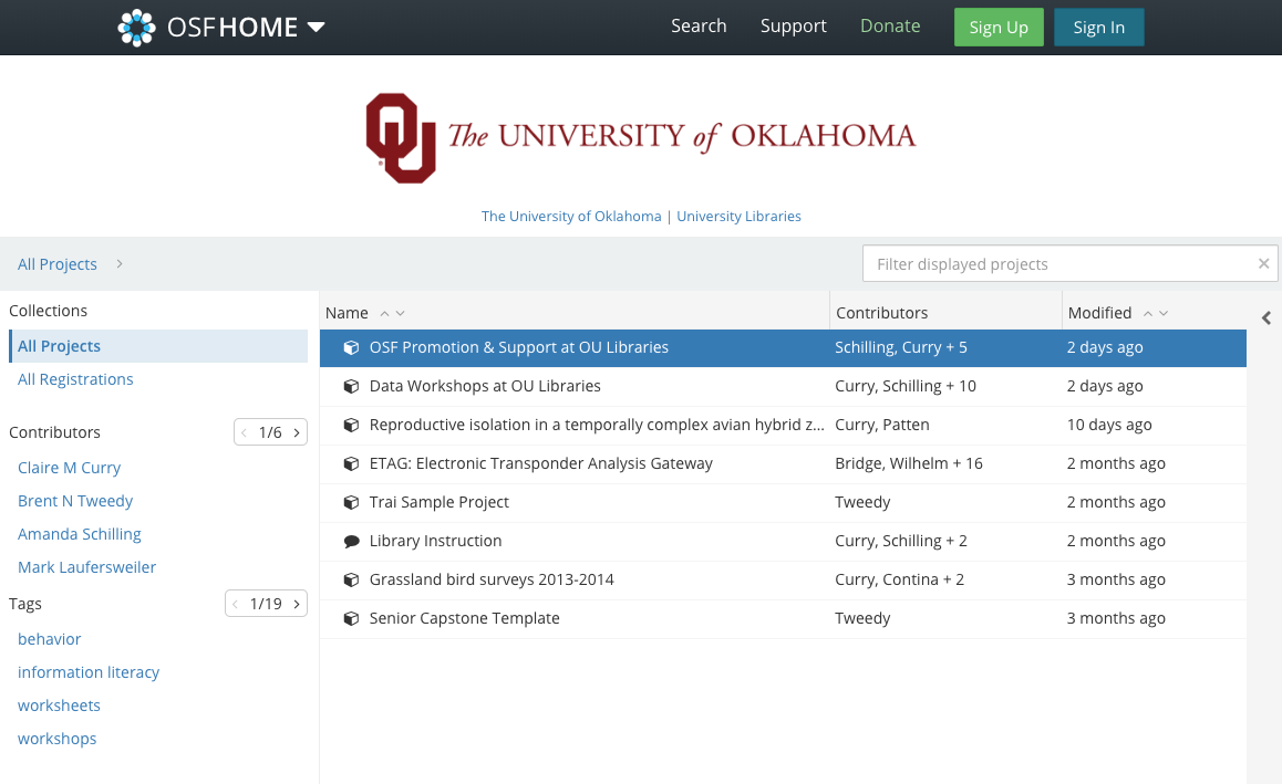 screenshot of OU branded OSF page