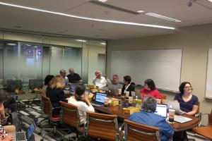 Photo of a discussion in the DSL Conference Room