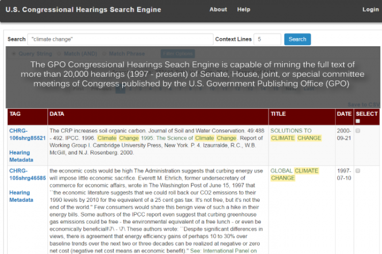 congressional hearings search engine